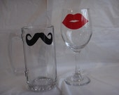 Set of two Mustache and Lips beer mugs or wine glasses.