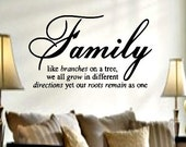 Family like branches on a tree vinyl quote wall lettering decal