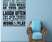 Family Rules/ Subway Art/ Vinyl Wall Decal/ Family Qoute Vinyl Wall Lettering