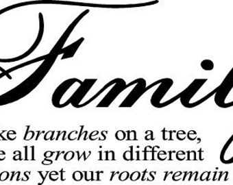 Family like branches on a tree vinyl wall lettering home decor decal quote
