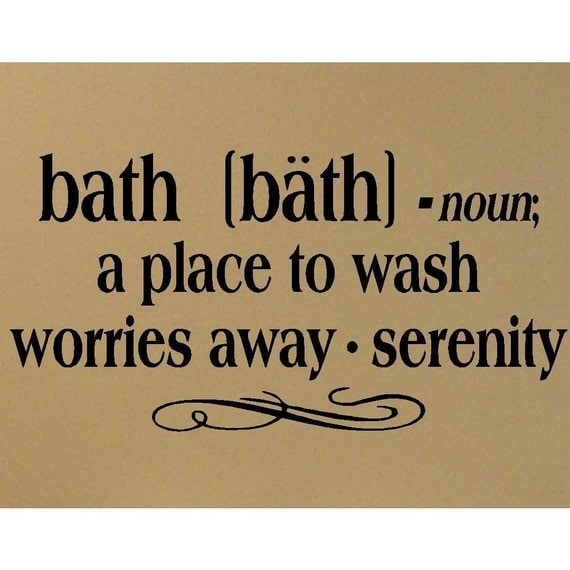 Items similar to Bath definition vinyl decal Bathroom Wall ...
