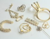 Sparkling Craft Lot of Vintage and Salvaged Gold and Clear  Rhinestone Jewelry   Pieces