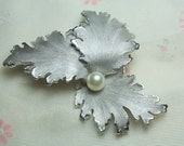CLEARANCE  SALE Large Vintage  Signed Avon Silver Curly Leaf Brooch with Pearl Center