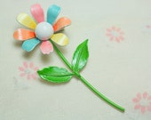 Crazy  Daisy Colorful Pastel Spring  Enamel Flower Metal Brooch