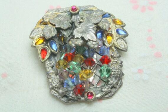 Funky Broken But Beautiful Art Deco Pot Metal Colorful Glass Dress Clip Excellent Piece for Assemblage