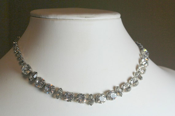 Sparkling Vintage Silver Metal and Clear Rhinestone Necklace Choker