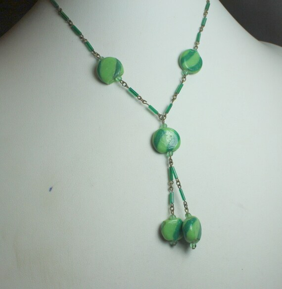 Vintage  Art Deco Lampwork Green Striped Glass Bead and Chain Lavalier Necklace