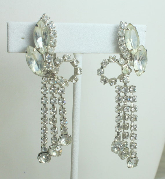Stunning Vintage Clear Rhinestone Long Dangle  Clip On Earrings Perfect for a Bride