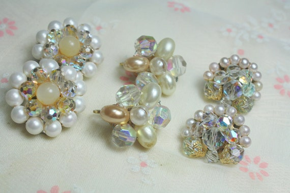 Destash  Craft Lot of Vintage and Salvaged Beaded Crystal  Cluster  and Pearl Earrings