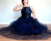 Midnight Sky- Vintage Dress- sequin- Gown- romantic- prom- medium- formal