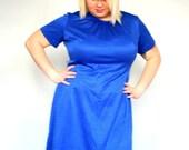 Sale- Cobalt Blue- Vintage- Plus size Dress with matching jacket