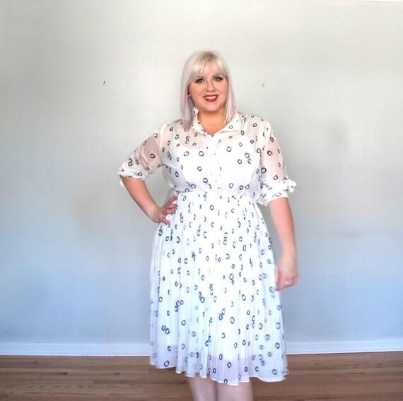 Romantic shear- polka dot Ruffle- Vintage Dress- plus size-xxl