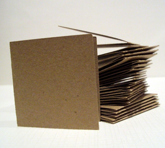 Kraft Paper Brown Mini Note CARDS 2 inches set of 25