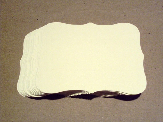 Cream Scroll Block 3.25 inches by 2.5 inches set of 25