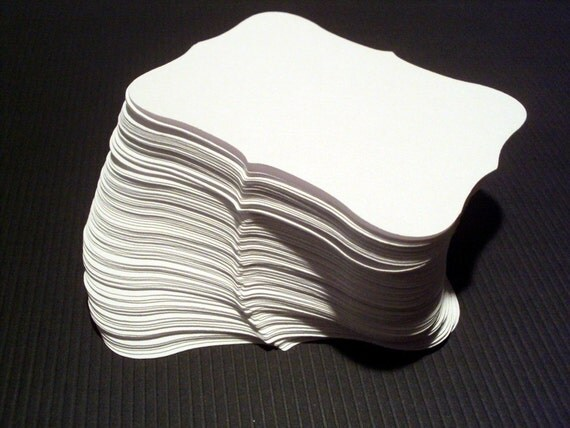 Snow White Scroll Block 3.25 inches by 2.5 inches set of 50