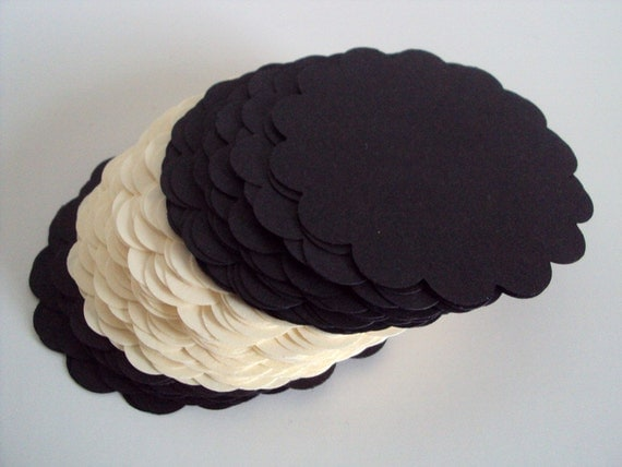 Oreo Cookie Collection scallop circles 2 inches set of 100
