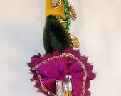 INVENTORY REDUCTION SALE!  Silk Clip Headband Hair Fascinator, Handmade Gift in Yellow and Fushia Flower
