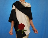 HOLIDAY GIFT SALE!  Black and Cream Silk Cape Wrap Art Jacket & Red Rose Handmade Christmas Gift by MaryGwyneth Artwear