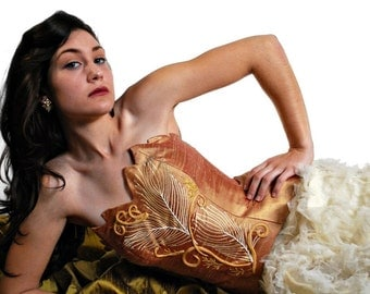 CLEARANCE SALE!  Buy Rose Iridescent Silk Bustier, White Peacock Collection Handmade Christmas Gift by MaryGwyneth