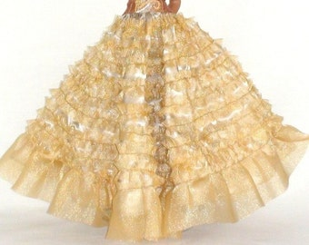 HUGE DISCOUNT!  White Peacock Long Ruffled Skirt for Tonner Dolls, One of a Kind Handmade Christmas Gift