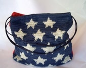 Patriotic 4th of July crocheted purse handbag tote Red white and blue 1990s