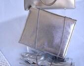 Vintage Clutch Gold Silver Handbag Gloves