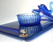 Vintage  Dresser Tray Cobalt Blue 1960 Reserved for Susan