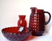 Vintage Anchor Hocking Bubble Ruby Red Depression Glass Pitcher Bowl Vase 1950