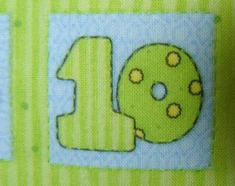 Pillow Baby Hand Embroidered counting numbers lime green yellow nursery