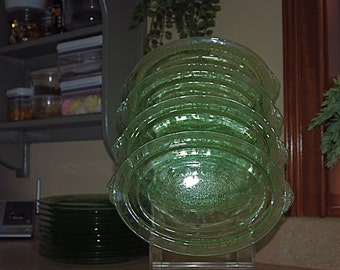 Vintage Anchor  Hocking Cameo Green Sandwich Glass Plates