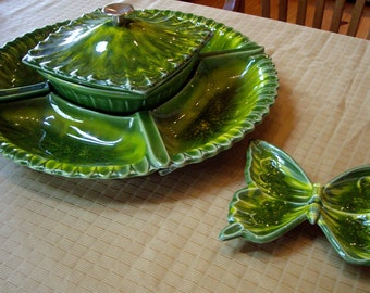 Vintage Seven Piece USA California Pottery  Relish Tray Compote - signed 1960