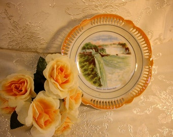 Vintage Prospect Point Niagara Falls Collectors Hand Painted Cut Rim Bowl