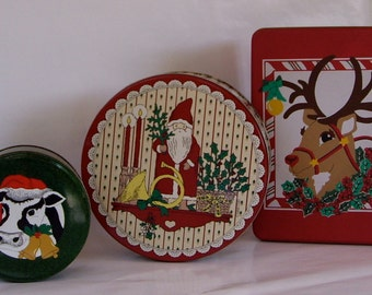 Vintage Tins Christmas Cookies Candy 1990
