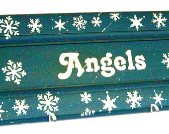 Christmas Angel Hand Painted Sign upcycled recycled kitchen cabinet door