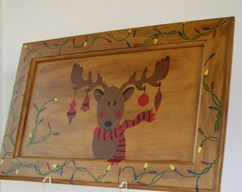 Rudolph  Reindeer Hand Painted super sized reclaimed upcycled recycled Christmas Sign