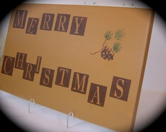 Christmas Merry Super sized Upcycled Recycled Cabinet Door Wall Hanging