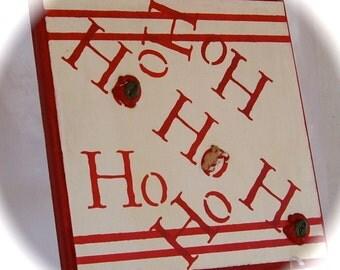 Christmas Ho Ho Ho upcycled recycled wood handpainted