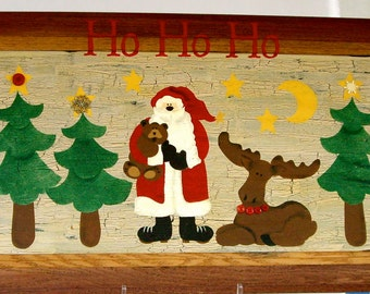 Christmas Santa reclaimed wood recycled upcycled handpainted wall art super sized