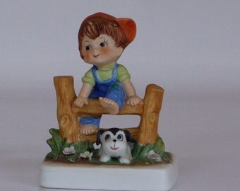 Lefton China Figurine Boy and Dog