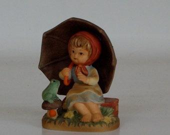 Nippon Miniature Figurine Girl Umbrella 1960s