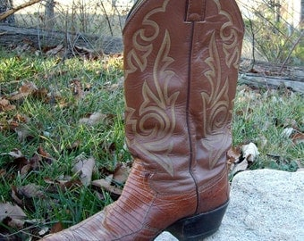 Vintage Justin Boots Men Leather and ostrich