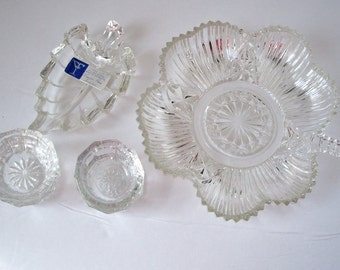 Vintage Glass Salt Cellar Candy Dish Nut Dish Six pieces