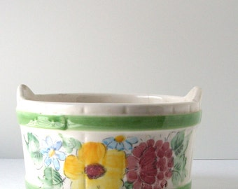 Vintage FTDA Handpainted Planter From Brazil 1980