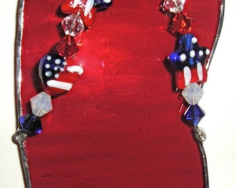 Patriotic/ Fourth of July/ Fireworks/  Handmade Stain Glass Flip Flop Suncatcher Beach Sand Fourth of July