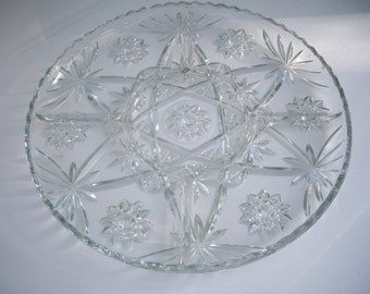 Vintage Anchor Hocking Relish Meat Dessert Star of David Design Platter Large 1960s