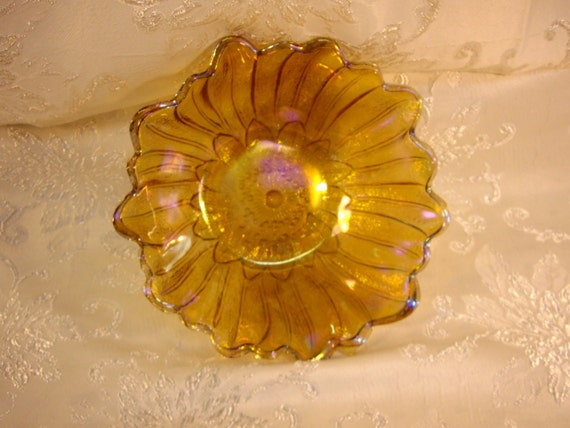 Vintage Anchor Hocking Amber Carnival Glass Sunflower Pattern