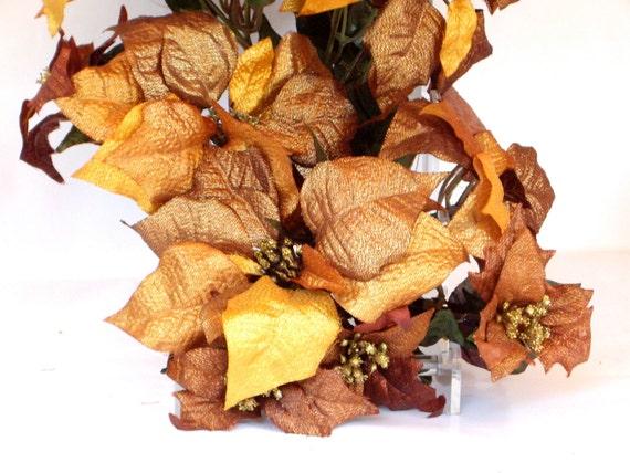 Vintage Christmas Copper Floral Poinsettias Stems Floral Supplies 1990