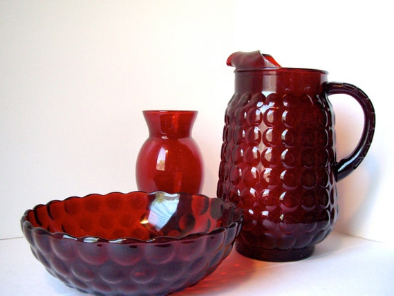 Vintage Anchor Hocking Bubble Ruby Red Depression Glass