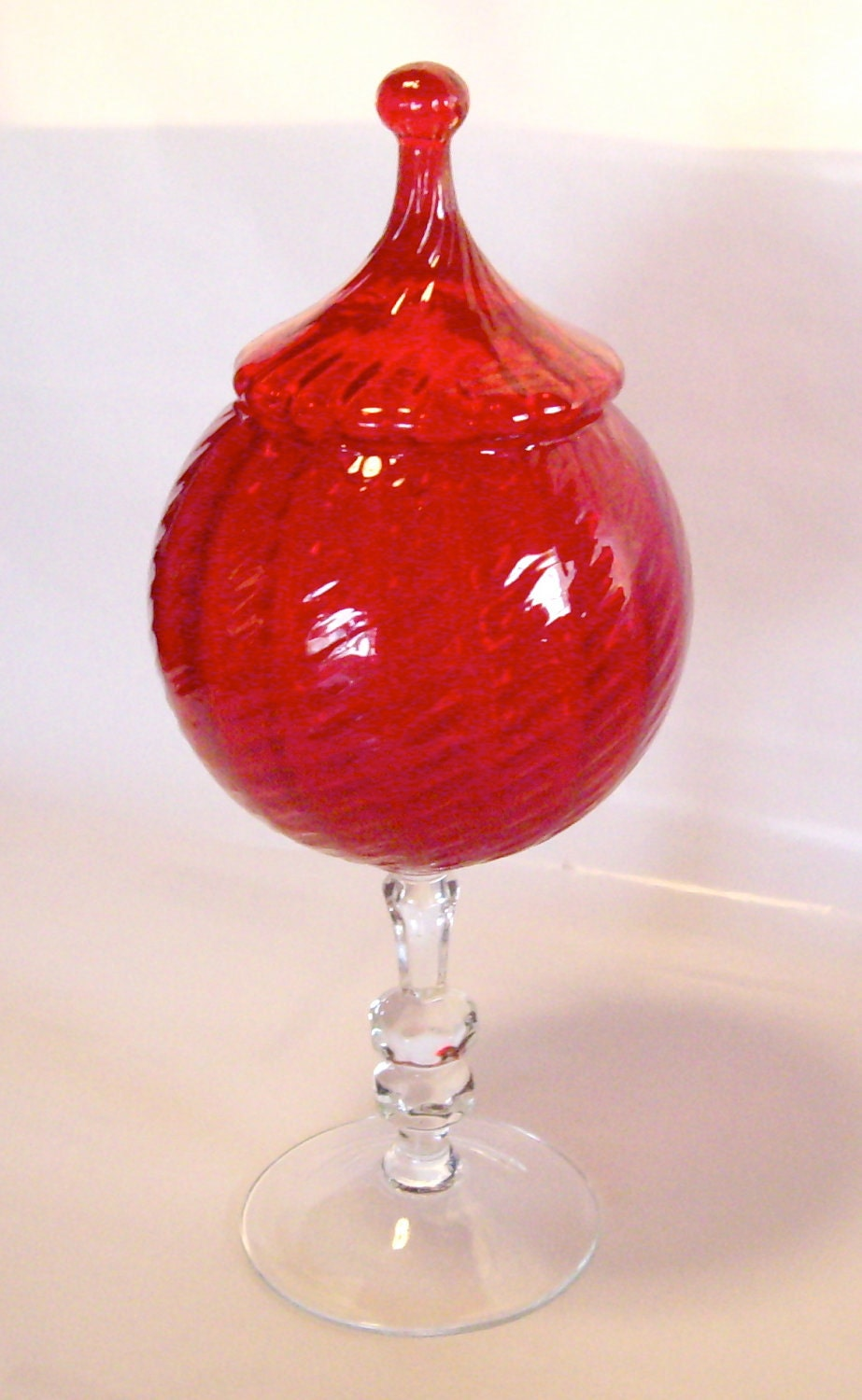 Vintage ruby red glass compote regency candy dish decora