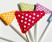 Cup Cake topper flags set of six custom colors
